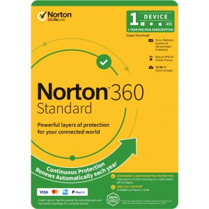 Norton 360 Standard, 10GB, 1 User, 1 Device, 12 Months, PC, MAC, Android, iOS, DVD, VPN, Parental Controls, Retail Edition, Subscription