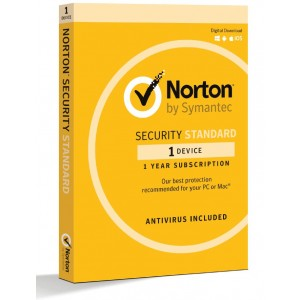 Norton Security Standard 1 Device Retail Box - Compatible with PC, MAC, Android, iOS 1 Year  -  Non Subscription Edition