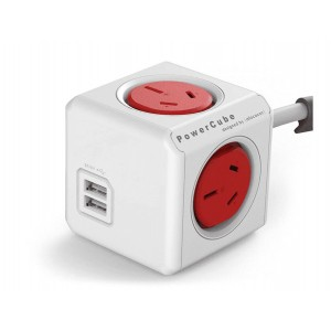 ALLOCACOC POWERCUBE Extended 4 Outlets Power Board with 2 USB 3 Meter Extension Cor - Red (LS)