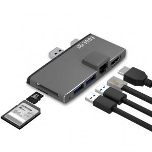 mbeat  Edge Pro Multifunction USB- C Hub for Microsoft Surface Pro 5/6  Metal Grey (HDMI, LAN, USB 3.0 Hub, Card Reader)
