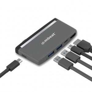 mbeat® EssentialPro 5-IN-1 USB- C Hub ( 4k HDMI Video, USB-C PD Pass Through Charging, USB 3.0 x 2, USB-C x 1)
