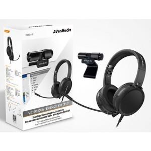 AVerMedia AH313 Podcast, Conference Kit, CAM313 Live Stream @ 1080P + AH313 High Quality Headset w/ Mic. Teams, Skype, Hangouts. Windows or Mac