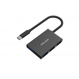 Volans Aluminium USB-C to 4-Port USB 3.0 Hub HB04S-C