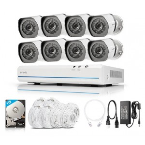 Zmodo 1080P NVR 8CH Outdoor CCTV 720P sPoE Security Camera System 2MP with 1TB HDD