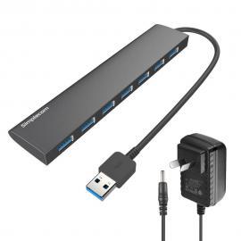 Simplecom Ultra Slim Aluminium 7 Port USB 3.0 Hub for PC Mac w/ Power Supply CH371PS-BK