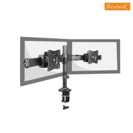 Brateck Dual Monitor Arm with Desk Clamp VESA 75/100mm 13'-27' monitors,Weight capability 8kgs,Rotate for 360°